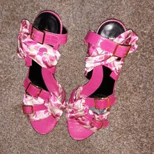 Shoes - Jon Josef Pink floral fabric leather heels size 9
